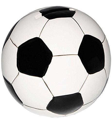 alles-meine.de GmbH große Spardose -  Fußball / Ball - weiß & schwarz  - stabile Sparbüchse aus Porzellan / Keramik - Sparschwein - Fußball Mannschaft - für Kinder & Erwachsene..