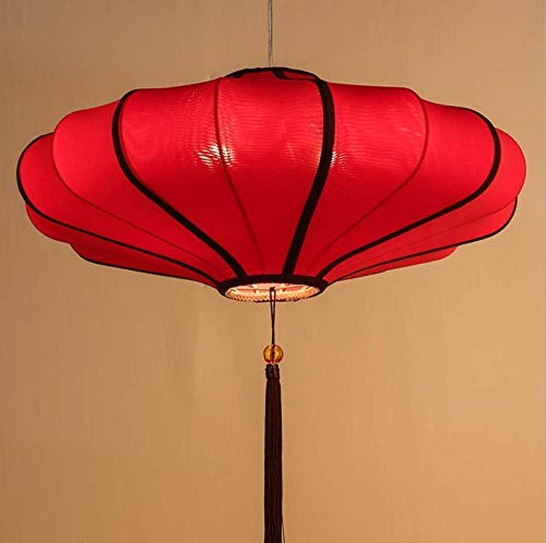 Chinese Pendant Lamp Modern Creative Tea House Classical Lamp Chinese Lantern Antique Cloth Chandelier Red 30Cm