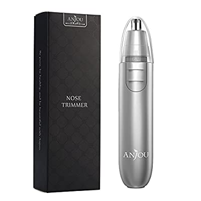 Nose Trimmer Anjou Ear Hair Trimmer Battery Operated Stainless Steel Dual-Edge Blades Facial Hair Groomer (Detachable Head and Washable Design) - Silver by Anjou
