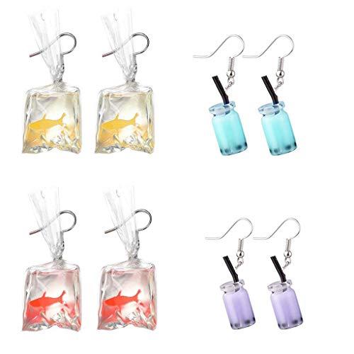 Daimay 4 Paar Einzigartige Bubble Tea Milk Getränk Tropfen Ohrring Niedlichen Goldfisch Wasser Tasche Baumeln Haken Ohrringe Lustige Acryl Anhänger für Mädchen Frauen Einzigartig mit Haken–Stil 1