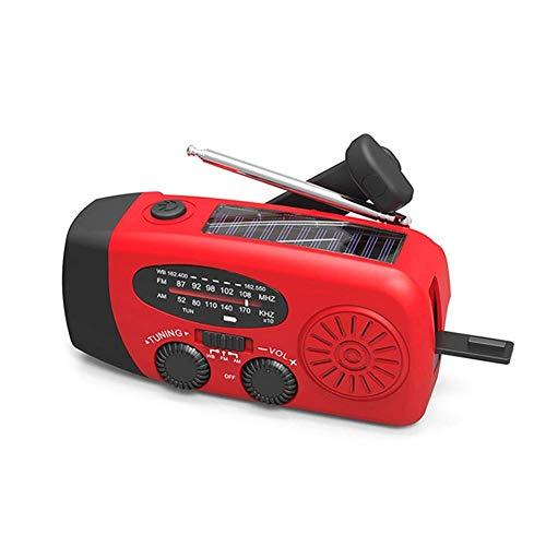 Radio FM de emergencia, retro portátil con energía móvil de 1000 mAh, radio solar autoalimentada con 3 linternas LED, hace que tu familia sea segura (color: rojo)