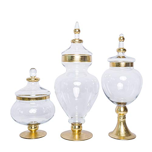 "BalsaCircle 3 pcs 11"" 16"" 18"" Tall Gold Trimmed Clear Glass Apothecary Jars with Lids Wedding Party Candy Gift Decorations Supplies"