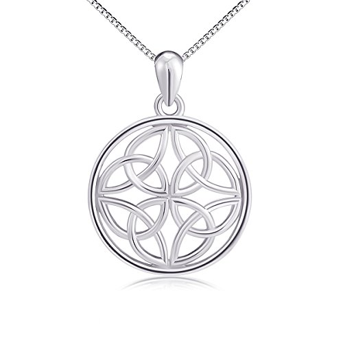 925 Sterling Silver Good Luck Irish Celtic Knot Round Pendant Necklaces for Women Girls, Box Chain 18'