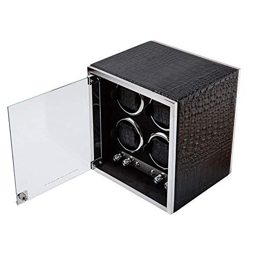 SLM-max Bobinador automático de reloj, enrollador de reloj, puede acomodar 4 relojes, motor anti-magnético ultra silencioso, almohada de mesa suave y flexible, motor importado, LED incorporado