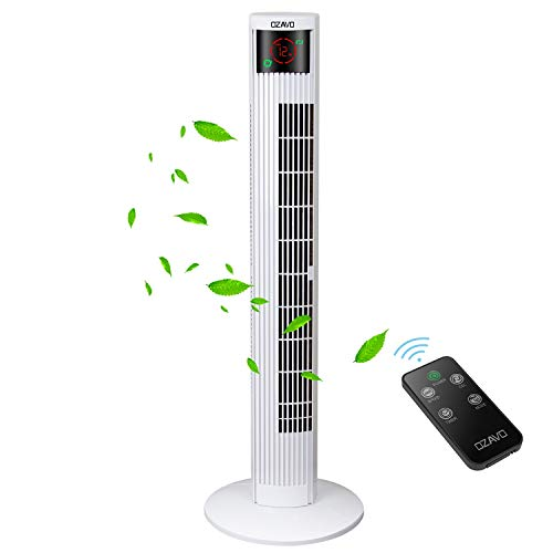 OZAVO Turmventilator mit Fernbedienung | Touchscreen | 3 Stufen | 3 Modi | 12h Timer | 70° Oszilierend Tower Fan | Säulenventilator | Luftkühler | Standventilator | 45W | 95.5cm | Weiß