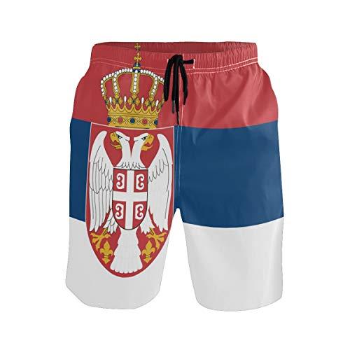 FANTAZIO Surf Shorts Strandshorts Smit Kordelzug Flagge von Serbia Gr. L/XL, 1