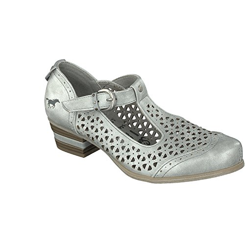 Mustang Spangen Pumps 1187-207 Metallic Damen Schuhe, Schuhgröße:40;Farbe:Silber