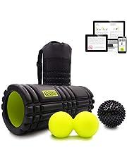 KALAHARI Foam Roller SET – Massagerol, Dubbele bal en Massagebal. Voor Triggerpointtherapie en Myofasciale Massage. Handige tas en E-boek met oefeningen in het Nederlands.