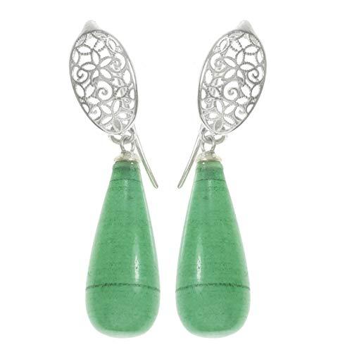 Pendientes verdes de ágata Plata de Ley 925 para flamencas y sevillanas