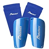 Malker Soccer Shin Guards for Kids Youth Adults Shin Guards Pads with Lower Leg Sleeves, Lightweight and Compact, Protective Soccer Equipment (Blue M)