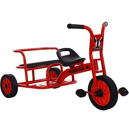 HQXH Triciclo para Niños, Bicicleta Tándem De Pedales, Vehículo De Educación Temprana para Jardín De Infantes para Varias Personas, Vehículo Tándem, Utilizado para Niños De 2 A 8 Años,Rojo