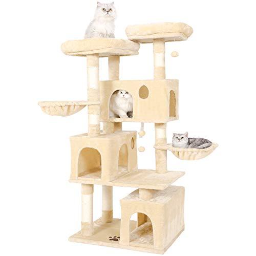 MSmask Kratzbaum für große Katzen, Kratzbaum groß mit 3 Katzenhöhlen Stabiler Katzenbaum mit Sisal-Kratzstangen, 2 Plattformen (Beige)
