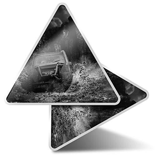 2 pegatinas triangulares de 7,5 cm – BW – Off Roading Quad ATV Dirt Car Fun Calcomanías para ordenadores portátiles, tabletas, equipajes, reservas de chatarra, neveras #41959