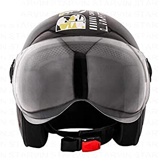 STARVIN RHHYN@X OPEN FACE HELMET || BLACK COLOR || Standard Size || ISI APPROVED || Unbreakable PC Visor with Double Layer...