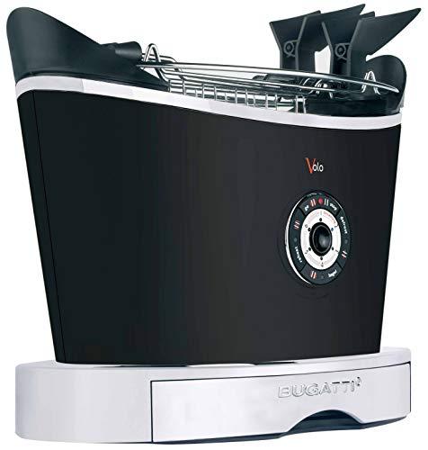 BUGATTI, Volo, elektrischer Toaster, Zange enthalten, 4 Funktionen, 6 Toaststufen, innovatives Design, Edelstahlgehäuse, Leistung 930 W (Mattschwarz)