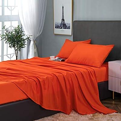 GLETU Full Sheet Sets - Soft Brushed Microfiber Bedding Sheet Sets - Wrinkle Fade Stain Resistant - Cooling and Comfy - 4 Piece Bed Sheet Set ( Red Orange/Coral)