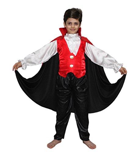 Kaku Fancy Dresses Vampire Dracula Costume/California Cosplay Costume/Halloween Costume -Red & White, 14-18 Years, For Boys