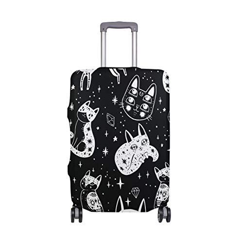 Orediy - Funda elástica para equipaje de viaje, color negro, blanco, con estampado de gato (sin maleta), multicolor (Multicolor) - suitcasecover