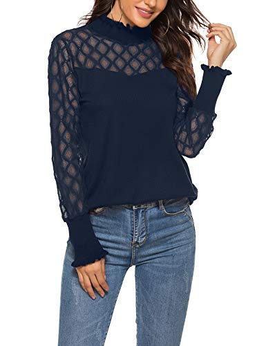 Womens Lace Ribbed Blouses Long Sleeve Turtleneck Elegant Patchwork Ruffles Chic Tops Navy Blue