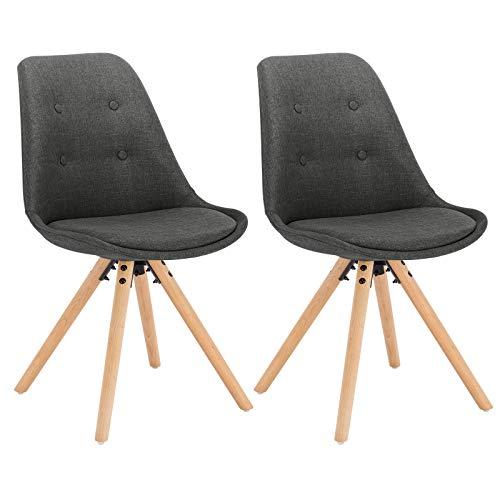 WOLTU® BH54dgr-2 2 x Esszimmerstühle 2er Set Esszimmerstuhl, Sitzfläche aus Leinen, Design Stuhl, Küchenstuhl, Holzgestell, Dunkelgrau