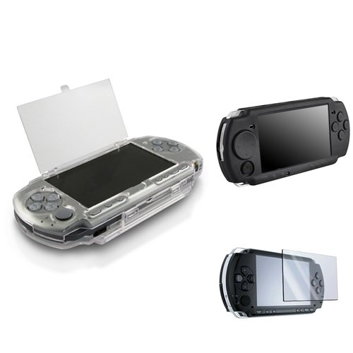 Everydaysource Hard Crystal Case + Black Soft Silicone + LCD Screen Protector Case Compatible With Sony PSP 2000 3000