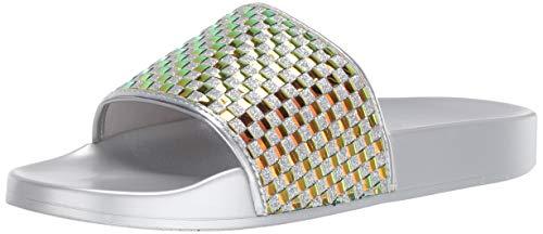 Katy Perry Women's The Jimmi Flat Sandal, silver, 5 Medium US