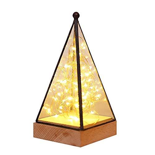 Luz De La Noche Pirámide Fuego Árbol De Plata Flor Mini Térmica Pantalla De Cristal White LED Las Lámparas De Incandescencia Decorativo