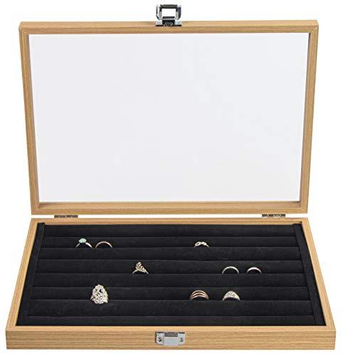 LAUBLUST Schmuckkasten für Ringe - ca. 36 x 25 x 5 cm, Naturbraune Holz-Optik | Ringbox mit Glas-Deckel