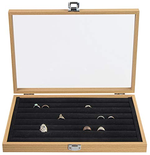 LAUBLUST Joyero para anillos, aprox. 36 x 25 x 5 cm, aspecto de madera, color marrón natural, caja para anillos con tapa de cristal