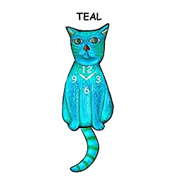 Teal Cat clock with wagging tail