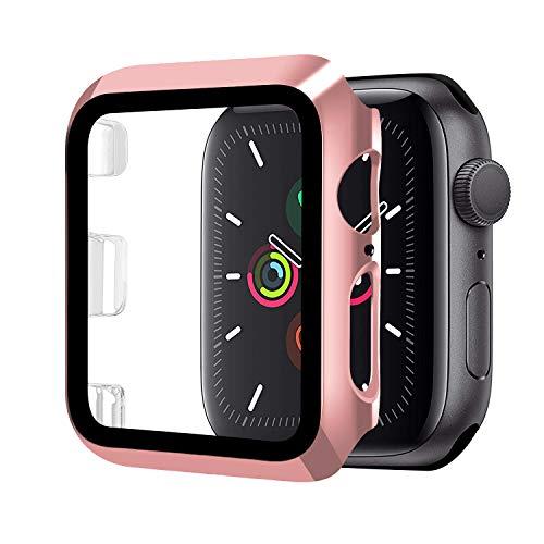 Funda Compatible con Apple Watch 44mm Serie 5/Serie 4+Cristal Templado, Qianyou PC Case y Vidrio Protector Pantalla Integrados, Anti-Rasguños Slim Bumper Case Cover para iWatch 44mm 5/4 (Rosa)