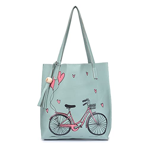 Bagolith Women Faux Leather Cycle Print Tote Bag(TTO1-3_Light Blue)