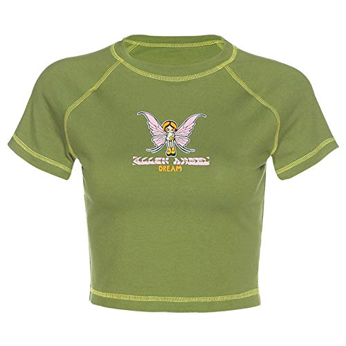 N-B Femmes E-Girl Papillon Graphique et Lettre Impression Point Vert Haut Court Y2K été Grunge Style O-Cou à Manches Courtes T-Shirts