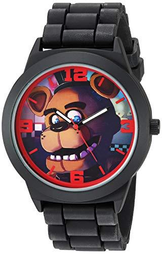 Five Nights at Freddy's Relógio analógico de quartzo com pulseira de borracha, preto, 21,5 (modelo: FNF9003)