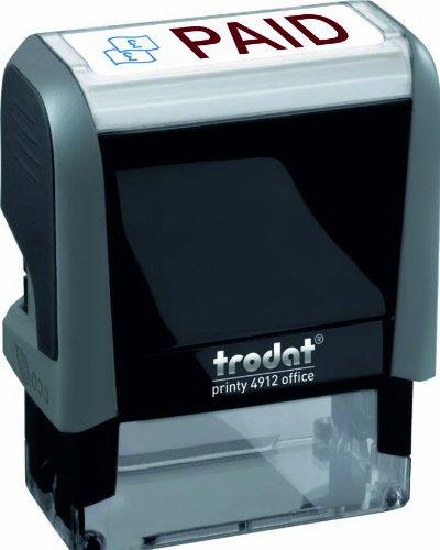Trodat Kantoor Printy Stempel Zelfklevende Betaald 18x46mm Rood Symbool en Blauwe Woorden - Ref 81411