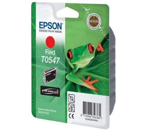 Epson Cartucho T0547 Rojo - Cartucho de Tinta para impresoras (Rojo, Epson Stylus Photo R800, 1800, 24,6 cm, 11,6 cm, 14,5 cm) Si