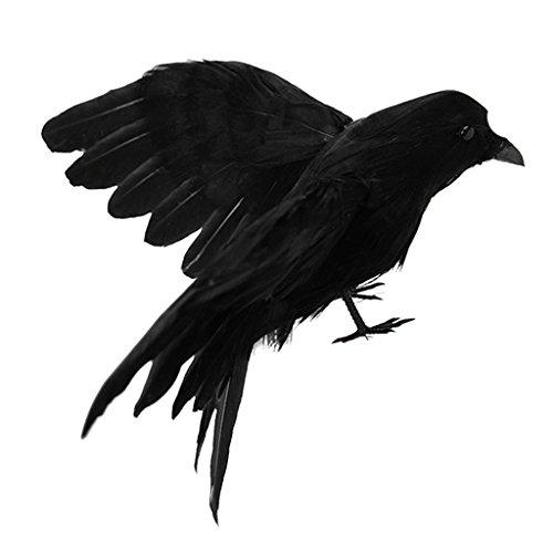 MagiDeal Rabe Krähe Vögel Figuren mit schwarzen Federn, Gothic Dekor für Thema Party/Halloween - #5