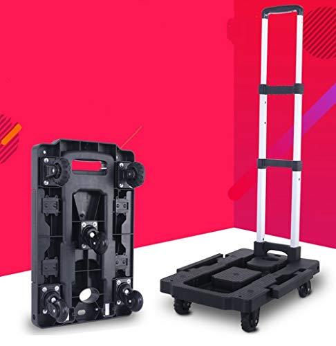 GOTOTO Sackkarre, zusammenklappbar, Teleskop-Sackkarre, für Gepäck, Klimmzugstange, 130 Grad drehbar, robust und langlebig, Reisetrolley mit Rädern, für Transport, mit Befestigungsriemen