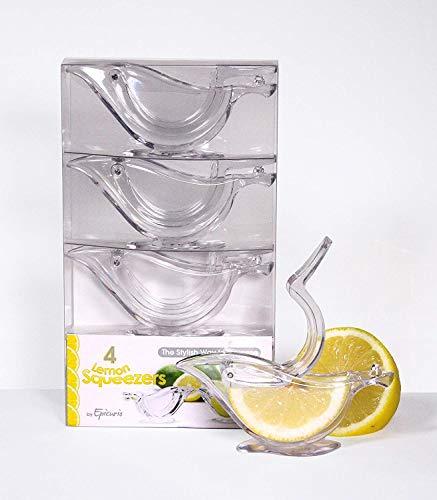 Epicurio Zitronenpresse, Entsafter Limettenpresse Zitruspresse, Handentsafter für Zitronensaft - in einer Präsentations-Geschenkbox (4 Stück pro Box)