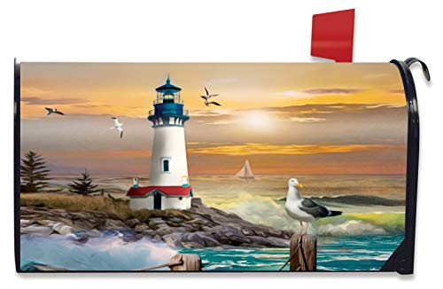 Briarwood Lane Sunset Lighthouse Summer Magnetic Mailbox Cover Standard
