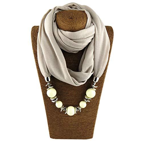 Cuigu Damen Schal Halsketten, Solid Color Schal Perlen Halstuch mit Schmuck (No.12)