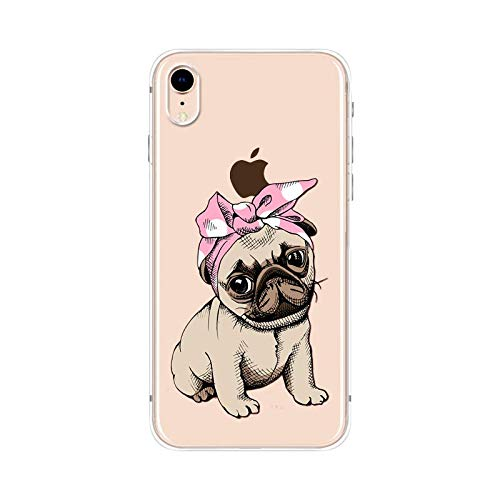 iPhone XR Case,Blingy's New Cute Animal Style Transparent Clear Soft TPU Protective Case Compatible for iPhone XR (Bandana Pug)