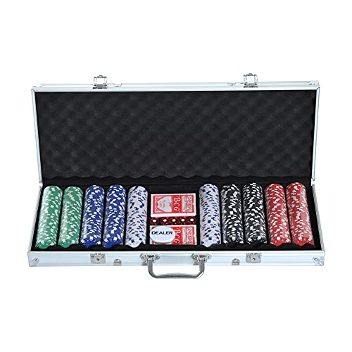HOMCOM Mallette Professionnelle de Poker 500 jetons 2 Jeux de Cartes 5 dés Bouton Dealer 2 clés alu