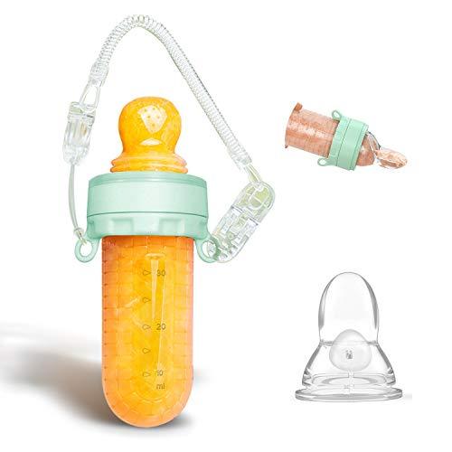 Chupetes Frutas bebe & Cuchara Dispensadora, Alimentador antiahogo bebe, multifuncional todo en uno juguete para bebe