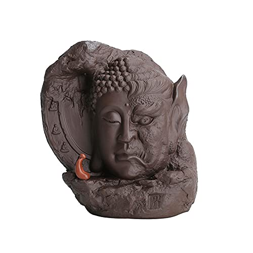 WQFJHKJDS Ceramics Buddha incense burner, Fengshui tea ceremony ornaments, with 200 reflux incense cones, aromatherapy ornaments and home decoration