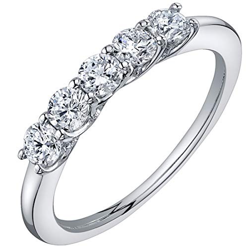 Peora Lab Grown Diamond 5-Stone Trellis Ring Band in 14K White Gold, Round Shape, 1/2 Carat Total, E-F Color, SI Clarity, 1.5mm width, Size 9