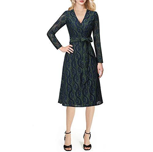 Women V Neck Tie Waist Flutter Short Sleeve Print Casual Party A-Line Wrap Dress,Dark Blue and Green,XS