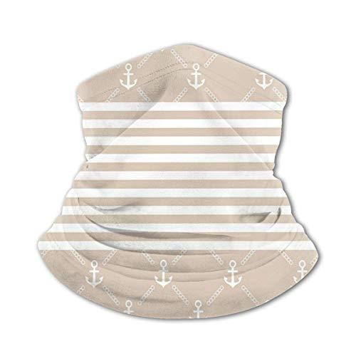 Bufanda protectora para el cuello Máscara a prueba de viento: Patrón náutico clásico con iconos de ancla y motivos de cadena a cuadros y rayas