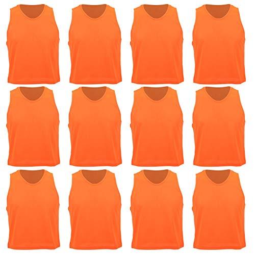 Eddwiin Chaleco de Ejercicio de fútbol - 12 Piezas de Malla pequeña, Transpirable, Chaleco de Entrenamiento de fútbol para niños, Color Naranja, tamaño Libre para niños