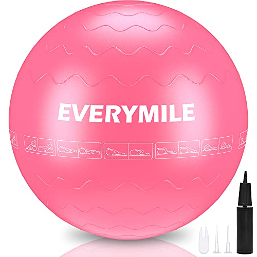 EveryMile Exercise Ball (55-75cm), Thick & Anti Burst Yoga Ball Chair, Stability Ball for Balance, Exercise, Workout, Core Training, Quick Pump Included, Balance Ball in Gym, Office, Indoor